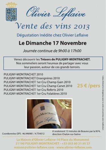 affiche vente de vins 2013 chez Olivier Leflaive