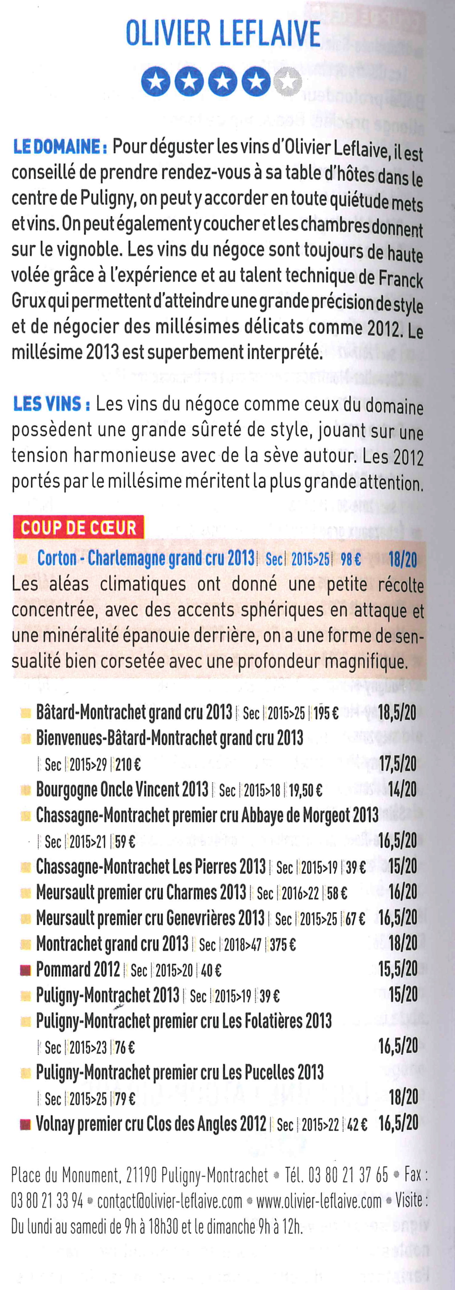 Nouveau guide bettane et dessauve 2016 olivier leflaive - La table d olivier leflaive puligny montrachet ...