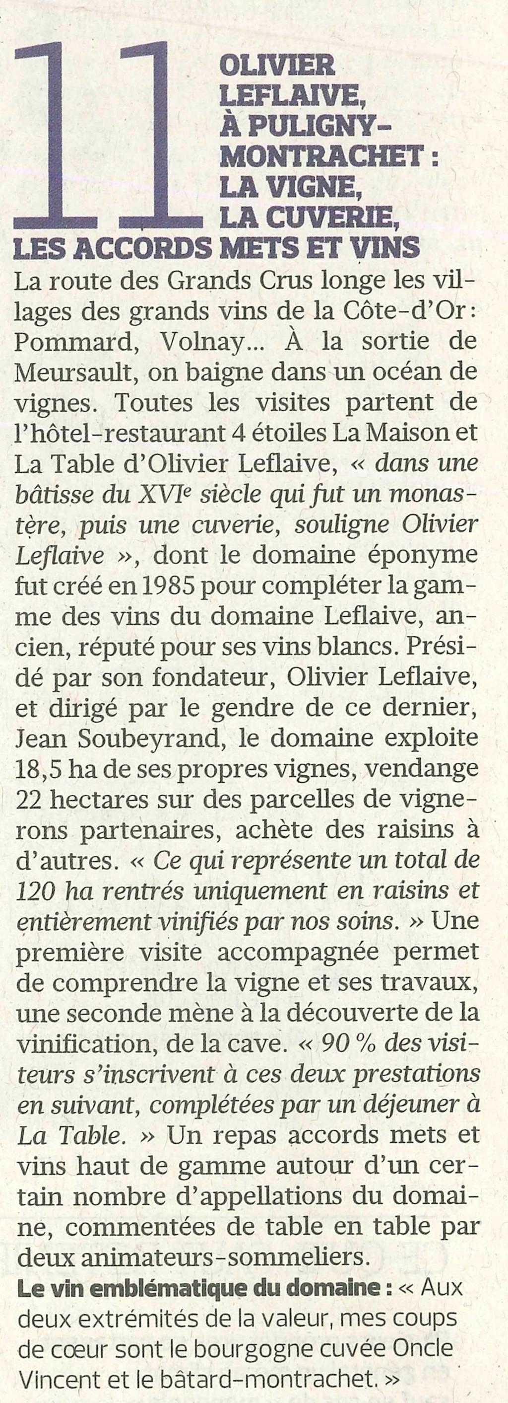 Le figaro mercredi 13 avril 2016 olivier leflaive - La table d olivier leflaive puligny montrachet ...